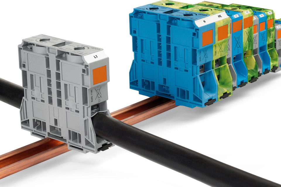 High-Current Rail-Mount Terminal Blocks With Perfect Clamping Force - WAGO 285