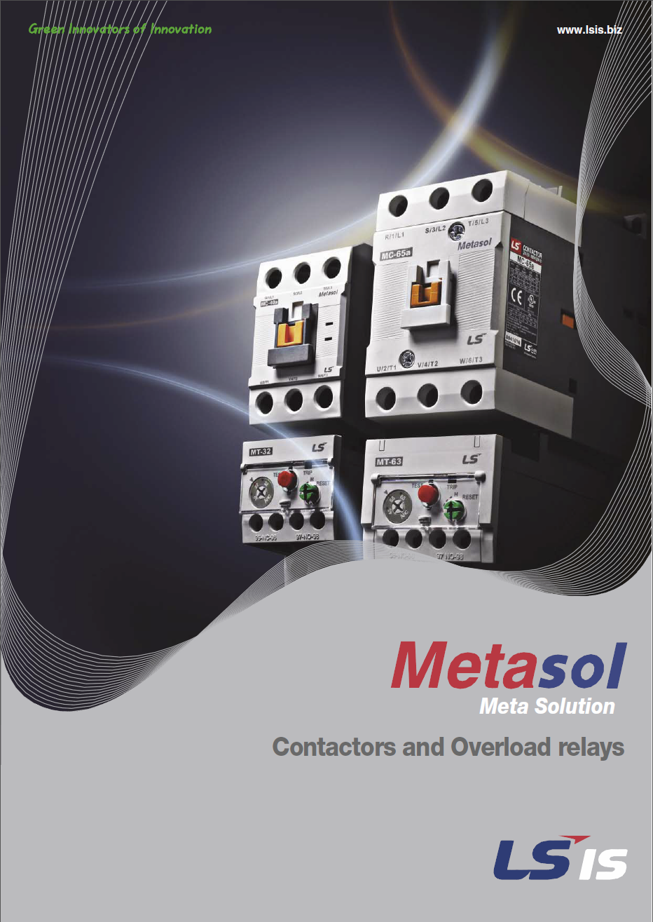 Metasol Contactors and Overload relays Catalogue Cover